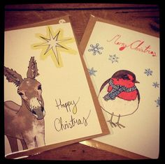 Rebekah Leigh Marshall - Art.Illustration.Design www.rebekahleighmarshall.com #christmascard #donkey #robin #christmascard #Rebekahleighmarshallartist