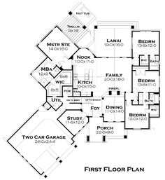 First Floor Plan of Cottage   Craftsman   French Country   House Plan 75134  Needs a few changes but a good overall plan and beautiful on the outside!!!!!