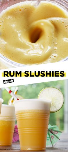 These Rum Slushies will make you feel like you're on a beach vacation. Get the recipe at Delish.com. #recipe #easy #easyrecipe #rum #booze #cocktail #alcohol #liquor #drinking #juice #soda #summer #cocktailrecipe
