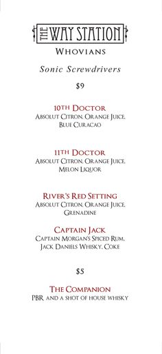 The Way Station - Doctor Who Bar in Brooklyn. Doctor Who inspired cocktails. which will most likely just be me, getting drunk, watching doctor who alone, like always. Doctor Who Wedding, Doctor Who Party, Doctor Who Cocktails, Sonic Screwdriver, Captain Morgan, 10th Doctor, Spiced Rum, Nerd Love, Don't Blink