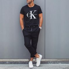 #calvinklein tshirt black jogger and white #sneaker by @kosta_williams  [ http://ift.tt/1f8LY65 ]