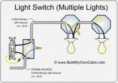 wiring diagram for multiple lights on one switch power coming in rh pinterest com tow light wiring diagram two way light wiring diagram
