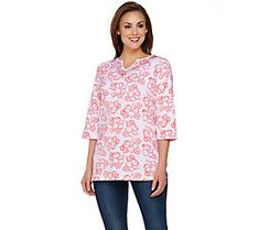 Quacker Factory Island Floral 3/4 Sleeve Tunic