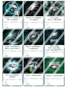 Philadelphia Eagles Valentines Day Cards Sheet #6 (instant download or printed)