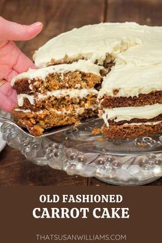 This carrot cake recipe is old fashioned comfort food, at its BEST. And you probably already have all the ingredients at your house right now. It just doesn't get any better than this, folks! Perfect for Easter dessert, or any time! #carrots #carrotcake #creamcheesefrosting #comfortfood #southerndessert