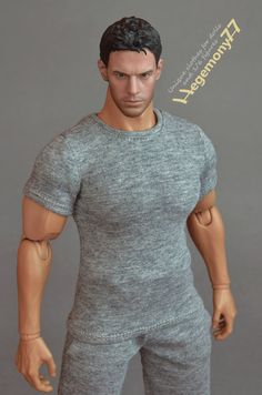 1:6th scale XXL heather grey color T-shirt for Hot Toys TTM 20 size advanced muscular action figures