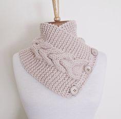 Beige Ivy Neckwarmer with Felfet Flower by knittingshop on Etsy, $28.00