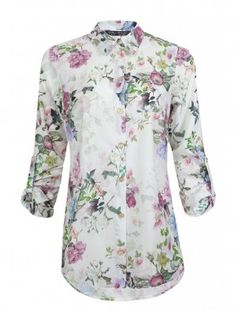 Ivory Floral Sateen Long Sleeve Shirt £13.99 - https://www.facebook.com/SelectVoucherCode