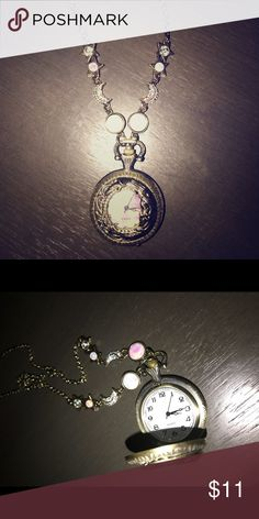 Celestial Lunar Moon Pocket Watch Necklace Never worn. Watch works. NWOT Jewelry Necklaces