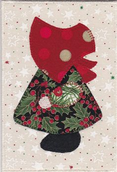Christmas Sue III Fabric Postcard by zizzybob on Etsy, $7.00