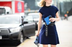 Jane Keltner was spotted during New York Fashion Week Spring 2015 wering a Fall 2014 dress. Photography by YoungJun Koo.