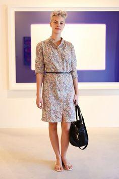 Art consultant Rina McGrath wears a Mercy dress, a Zara bag, and Tkees flip-flops.