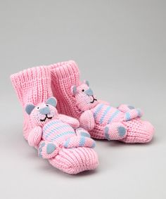 Take a look at this Pink & Blue Cat Slipper Socks by Crazy Sox on #zulily today!