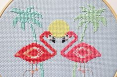 Miami Pink Flamingos Pattern Modern counted cross stitch