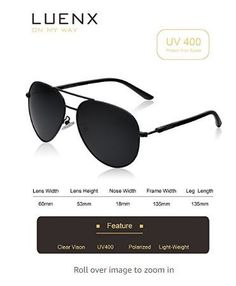 cfe5cd8a1d LUENX Aviator Sunglasses Polarized for Men Women with Sun Glasses Case - UV  400 -  15