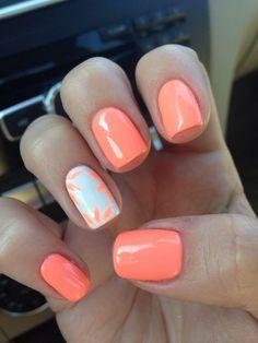nail polish ideas for summer - nail polish ideas ; nail polish ideas for spring ; nail polish ideas for summer ; nail polish ideas for winter ; Coral Gel Nails, Coral Nails With Design, Cute Gel Nails, My Nails, Nails Design, Neon Nails, Coral Nail Art, Orange Nails, Tribal Nails