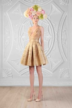 rami kadi spring 2014 couture collection le royaume enchante brocard gold short dress love the dress, lose the hat! Metallic Dress, Gold Dress, Wedding Notebook, Collection Couture, Summer Collection, Ootd, 2015 Wedding Dresses, The Dress, Marie