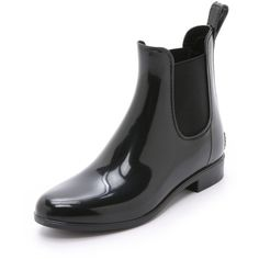 Sam Edelman Tinsley Chelsea Rain Boots ($56) ❤ liked on Polyvore featuring shoes, boots, black, lined rubber boots, rubber sole boots, black shoes, pvc boots and wellies boots
