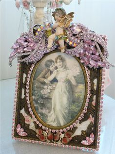 Vintage Pink Bejeweled Cherub Frame From The Collection By Debbie Del Rosario-Weiss, Juliana,brush, comb, vintage, Clock,tray, mirror, perfume, antique, vintage, victorian, Sparkle, Eisenberg, Judy Lee,