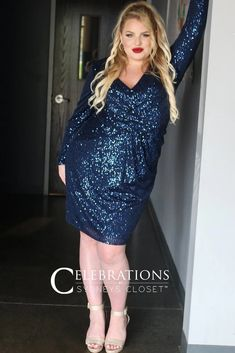 Sydneys Closet Short Glitter Party Dress   The Dress Outlet Plus Size Short Dresses, Glitter Party Dress, Plus Size Shorts, Fitted Skirt, Girls Night Out, Sleeve Styles, Glamour, Long Sleeve, How To Wear