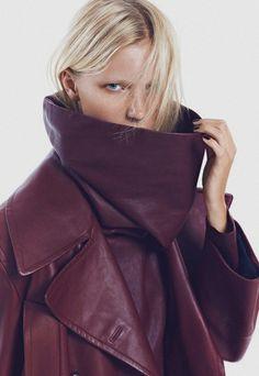 Maja Mayskar by Andoni & Arantxa for Grazia Italia - Jean Paul Gaultier trench coat and leather dress with oversized collar