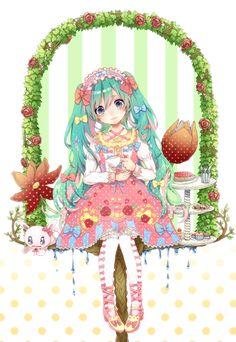 ✮ ANIME ART ✮ sweet lolita. . .Hatsune Miku. . .long hair. . .ribbons. . .headdress. . .lace. . .tights. . .colorful. . .tea party. . .teacup. . .flowers. . .sweets. . .cute. . .kawaii