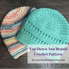 Crochet Beanie Top Down Ana Beanie Crochet Pattern - Crochet it Creations - Check out this Top Down version of a Crochet It Creations favorite.The Ana Beanie Crochet Pattern! It works up QUICK and is full of textured stitches, just like The Ana Beanie Crochet Adult Hat, Crochet Beanie Pattern, Crochet Cap, Crochet Baby Hats, Crochet Gifts, Crochet Scarves, Knitted Hats, Crochet Patterns, Crochet Ideas