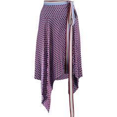 Alexis Danica wrap-effect polka-dot and striped silk skirt ($225) ❤ liked on Polyvore featuring skirts, purple, stripe skirts, polka dot skirts, silk skirt, striped skirts and wrap around skirt