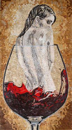 Nude Woman Figure In Wine Glass Fantasy Marble Mosaic Art Design Tile for Home Decor - Mosaic Artwork, Mosaic Wall Art, Marble Mosaic, Mosaic Glass, Fused Glass, Fantasy Kunst, Mosaic Portrait, Fantasy Art Women, Wine Art
