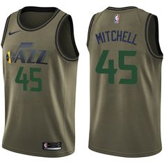 Men s Nike Utah Jazz Donovan Mitchell Green Salute to Service NBA Swingman  Jersey 542c493ee