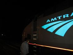 Amtrak locomotive at night in Charleston, West Virginia - The Cardinal in March 2012