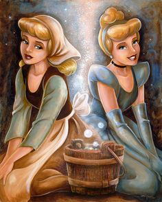 This is Cinderella before and after the transformation.  She is wearing a pretty plain and simple dress with a dirty apron. When she is transformed her hair goes up into a bun and her face gets clean and made up. Her dress is pink with matching long gloves.  She also gets some jewlery to wear.