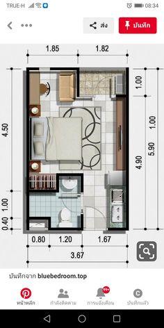Studio Apartment Floor Plans, Apartment Plans, Small House Plans, House Floor Plans, Plan Studio, 3 Storey House Design, Tiny House Rentals, Single Apartment, Hotel Floor Plan