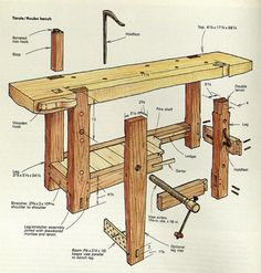 Design of the Century Roubo Workbench Sees Modern-Day Reincarnation - Woodworking Bench Plans Woodworking Bench Plans, Woodworking For Kids, Woodworking Crafts, Woodworking Projects, Woodworking Classes, Teds Woodworking, Woodworking Furniture, Sketchup Woodworking, Woodworking Organization