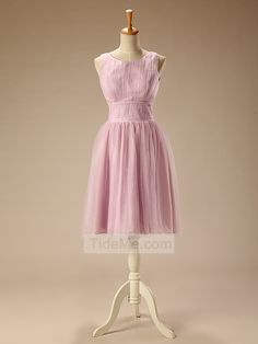 Simple Modest Straps Ruched Tulle A-Line Cheap Short Prom Dress Bridesmaid Dress