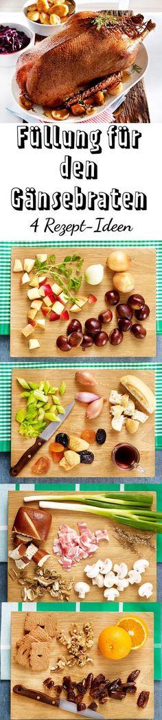 Die Füllung für Gans ist oft das Beste! Hier findest du vier leckere Rezepte für Gänsebratenfüllung - von Äpfeln über Datteln bis Speck ist alles dabei!