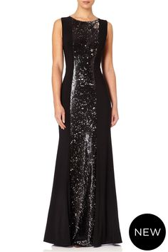 Zinna - Look glamorous in this long black jersey dress with a shiny black and silver turning sequin inset. The open back, sheer mesh shoulder panels and back ruching make it a red carpert piece ! Fall Winter, Autumn, Sequin Dress, Teal, Sequins, Glamour, Plus Size, Panelling, Long Black