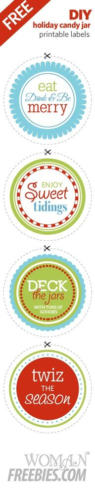 FREE Printable Candy Jar Labels for all your gift giving needs!  Make sure to check out our video for Holiday Candy Jar Gifts  http://www.youtube.com/watch?v=u_F54WbLvu0=player_embedded    http://womanfreebies.com/free-samples/candy-jar-printables/