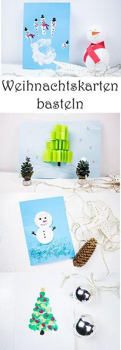 Weihnachtskarten basteln mit Kindern: mit Fingerabdruck, Handabdruck, Stempeln - Anleitung schnell und einfach