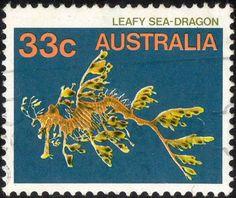 Leafy sea-dragon, Australian postage stamp, c. Weird Creatures, Sea Creatures, Australia Capital, Leafy Sea Dragon, Australian Painting, Postage Stamp Collection, Australian Animals, Sea Monsters, Small Art