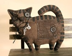 Primitive Black Angry Cat Lover Gift Folk Art Textile doll Primitive decor Halloween Cat collectible Primitive Animal Primitive doll