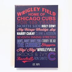 Chicago Cubs Canvas Art typography poster gift #chicago #cubs #etsy etsy