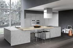 omicron armony küche integrierte kücheninsel holz beton