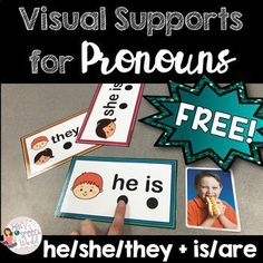 FREEBIE: Pronoun Visual Supports - he/she/they + is/are for Speech Therapy Preschool Speech Therapy, Speech Therapy Games, Speech Language Pathology, Speech And Language, Play Therapy, Therapy Ideas, Pronoun Activities, Speech Therapy Activities, Language Activities