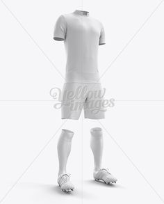 Men's Full Soccer Kit With Mandarin Collar Shirt Mockup (Hero Shot)