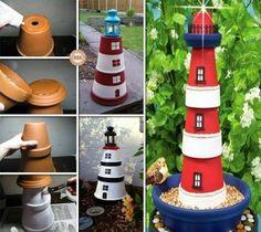Un faro con i vasi di terracotta