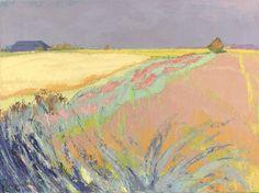 """thunderstruck9:  """" Jannes de Vries (Dutch, 1901-1986), Cornfields, 1970. Oil on canvas, 60 x 80 cm.  """""""