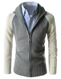 Good Thermal 2 Color Coloration Turtle Neck Zip Up Long Sleeve Cardigan