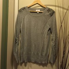 Ann Taylor Loft sequined sweaterSALE Soft Grey Ann Taylor Lift sequined sweater in size M shown with Earl Jeans great bundle idea  long sleeve with gather details gives this a fitted look Ann Taylor Sweaters Crew & Scoop Necks