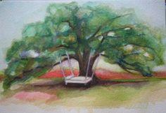 Edisto Island Mattress Tree altered giclee 5x7 by HutsonWrenn, $45.00